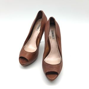 👠👠HOT! MIU MIU Heels Saddle Brown Leather